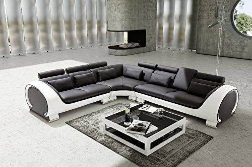 SAM Ecksofa Vigo Combi 4, schwarz/weiß, Couch aus Kunstleder, 266x303 cm rechts