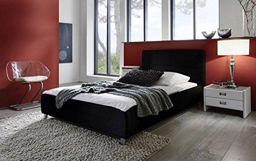 SAM® Zarah Polsterbett in 8 verschiedenen Größen, in weiß oder schwarz, Bett mit gepolstertem Kopfteil im abgestepptem Design und pflegeleichter Oberfläche, Bettgestell auch als Wasserbett verwendbar