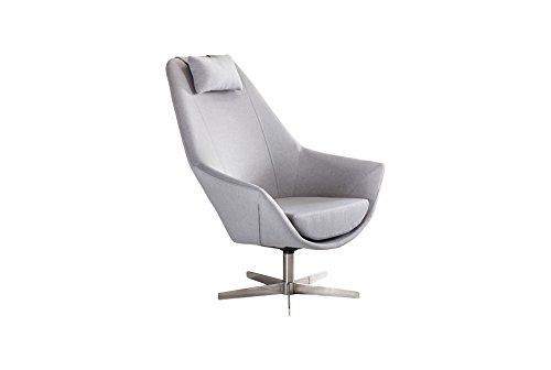 SalesFever® Eleganter Drehsessel Siosco mit Armlehnen, Füße aus Edelstahl, Polsterbezug in Grau, aus Polyester, 42 x 45 x 103 cm