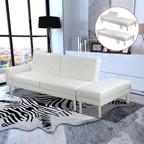 Schlafsofa Kunstleder Weiß Material: Gestell aus Holz + Kollektion Leder Künstliche