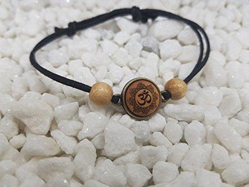 "Schlichtes SOULSLICES Armband"" OM Mandala 2"" mit Holzperlen - Strandschmuck - Festivalschmuck - Schlicht - Armband - Armreif - Bracelet - Herren & Damen Armband - Boho - Yoga - Ethno - Hippie"