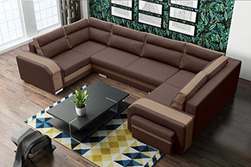 Sofa Couchgarnitur Couch Sofagarnitur ASSAN als U Form mit Schlaffunktion, 3 Bettkästen mit komfortablem Federungssystem. Ottomane links oder rechts kostenlos wählbar