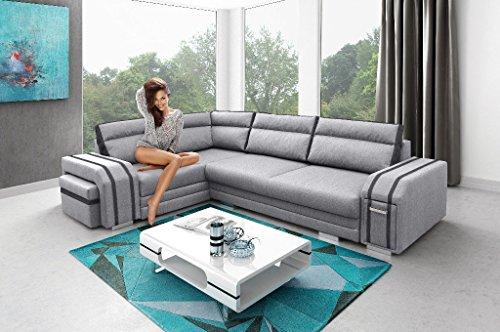 Sofa Couchgarnitur Couch Sofagarnitur AVATAR als L Form mit Schlaffunktion, 2 Bettkästen mit komfortablem Federungssystem. Ottomane links oder rechts kostenlos wählbar
