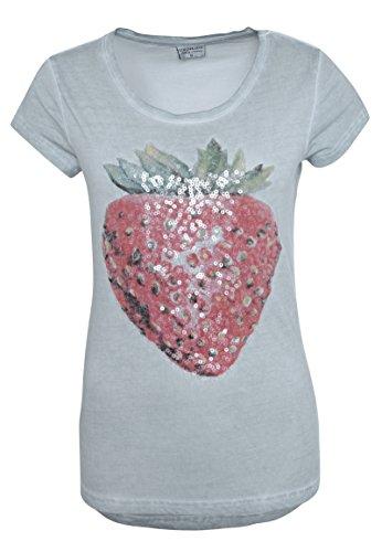 Stitch & Soul Damen T-Shirt mit Erdbeer-Print & Pailletten | Basic Print-Shirt aus Reiner Baumwolle