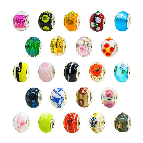 TOAOB Silber Glasperlen Murano Glas European Perlen Anhänger für Charms Schmuckarbeiten Armbänder Halsketten Packung mit 50 Stück
