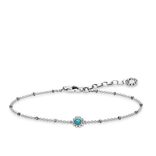 Thomas Sabo Damen Armband Ethno Türkis 925 Sterling Silber geschwärzt Türkis A1670-878-17-L19v