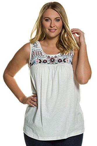 Ulla Popken Damen große Größen bis 56 | Top | Longshirt aus 100% Baumwolle | Shirt mit Rundhals & Ethno Muster | A-Linien Schnitt | 710546