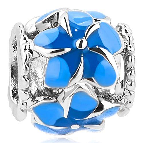 Uniqueen filigrane Glücksbringer-Perlen aus Emaille mit Blume für Charm-Armbänder