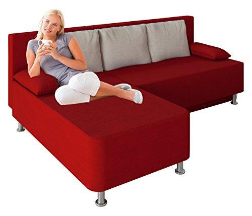 VCM Ecksofa Schlafsofa Sofa Couch mit Schlaffunktion Gästebett Bettsofa Sofabett Rot 81 x 203 x 78 cm Magota