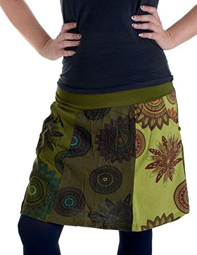 Vishes - Alternative Bekleidung – mit Blumen Bedruckter Patchworkrock aus Baumwolle – mit Taschen