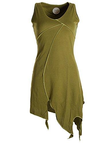 Vishes - Alternative Bekleidung - Ärmellose Asymmetrische Patchwork Zipfeltunika aus Biobaumwolle