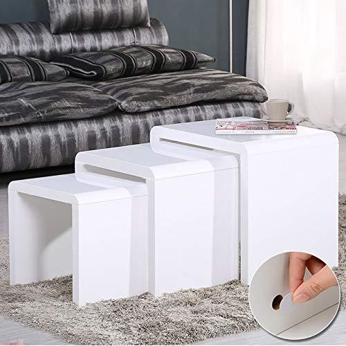 Voilamart 3er Set Beistelltische Satztische Wohnzimmer-Tisch Couchtisch Sofatisch platzsparender Wohnzimmermöbel Weiß Hochglanz-lackierter