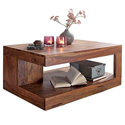 WOHNLING Couchtisch MUMBAI Massiv-Holz 90 cm breit Wohnzimmer-Tisch Design Natur-Produkt Landhaus-Stil Beistelltisch Wohnzimmerm_bel Unikat modern Massivholzm_bel Echtholz rechteckig braun