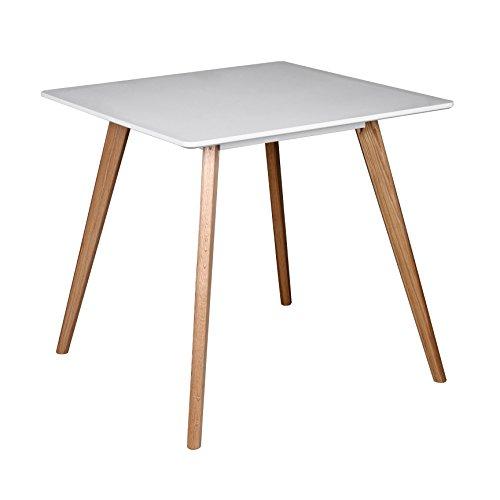 WOHNLING Esszimmertisch aus MDF Holz | Esstisch mit Tischplatte in weiß | Robuster Küchen-Tisch im Retro Stil | Holz-Tisch in skandinavischem Design | Untergestell in Eschefurnier