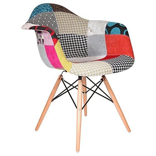 Zolta Patchwork Stuhl Schalens Stoff Eiffel Armlehnstuhl Esszimmerstuhl Küchenstuhl mit Lehne Sesseltuhl