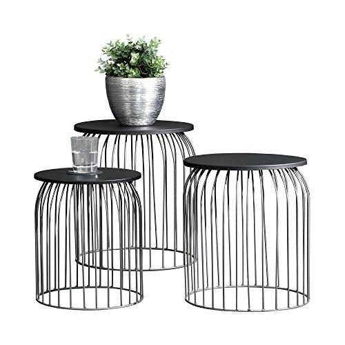 [en.casa] Stylischer Metallkorb - Beistelltisch / Couchtisch