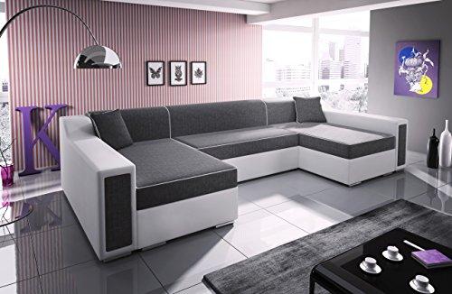 mb-moebel Ecksofa Sofa Eckcouch Couch mit Schlaffunktion und zwei Bettkasten Ottomane U-Form Schlafsofa Bettsofa Polstergarnitur HORST SUPER