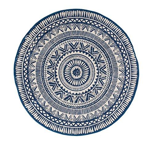 miaVILLA Teppich Sigma Rund 100% Baumwolle Blau Weiß Gemustert Ø 120 cm