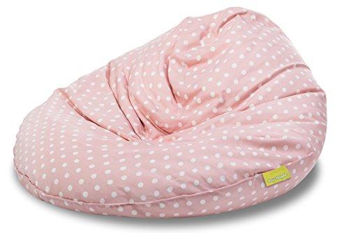 my-teepee MT05ro Sitzsack für Kinder, Durchmesser 70 cm, 100 L, rosa mit weißen Sternen