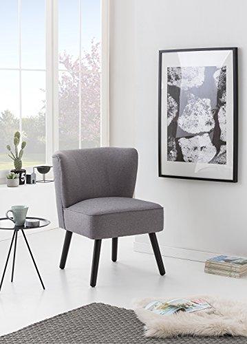 myHomery Venlo Lounge Sessel Gepolstert - Polsterstuhl für Esszimmer & Wohnzimmer - Vintagesessel Ohne Armlehnen - Eleganter Retro Stuhl aus Stoff -