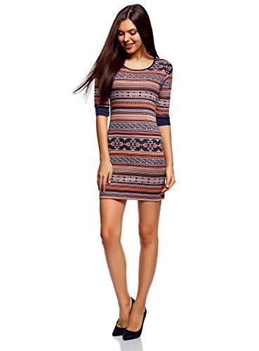 oodji Ultra Damen Jacquard-Kleid mit Geometrischem Muster