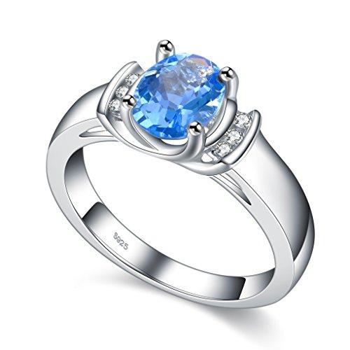 925Sterling Silber Damen Ring Aquamarin Blau Kristall Stein Hochzeit Schmuck, mit schöner Geschenkbox