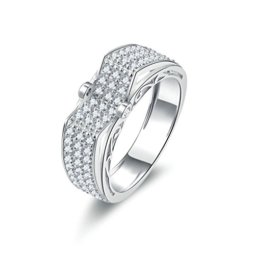 Aienid Schmuck Ringe Damen Silber Groß Sterling Silber Ring Damen Promise Anpassbare Ringe Bump CZ