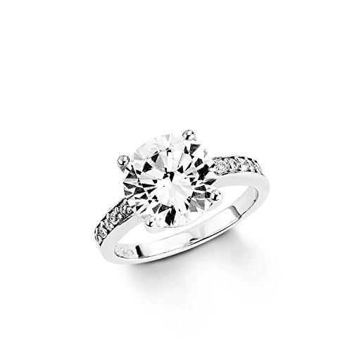 Amor Damen-Ring 925 Sterling Silber rhodiniert glänzend Zirkonia weiß