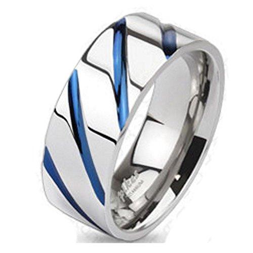 Bungsa Titan Ring Silber-Blau - Titanium Ring mit Blauen Streifen für Damen & Herren - Silber-Blauer Damenring/Herrenring - SCHMUCKRING für Frauen & Männer - Blue Stripes Titan Ringe