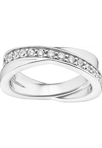 JETTE Silver Damen-Ring Wrapping II 925er Silber rhodiniert 31 Zirkonia (silber)