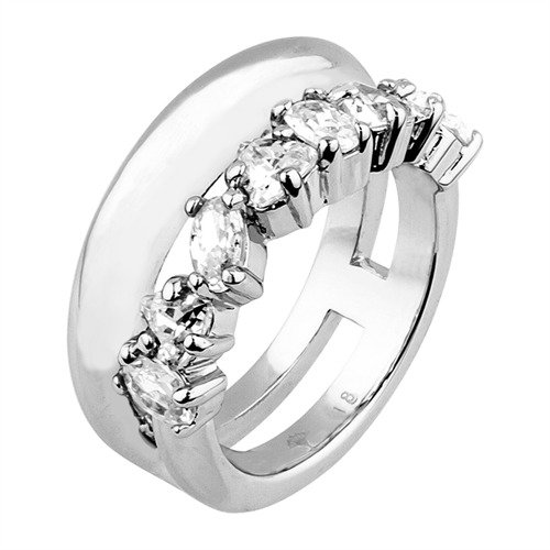 JOOP! Damen-Ring Messing rhodiniert Zirkonia transparent JPRG00007A1