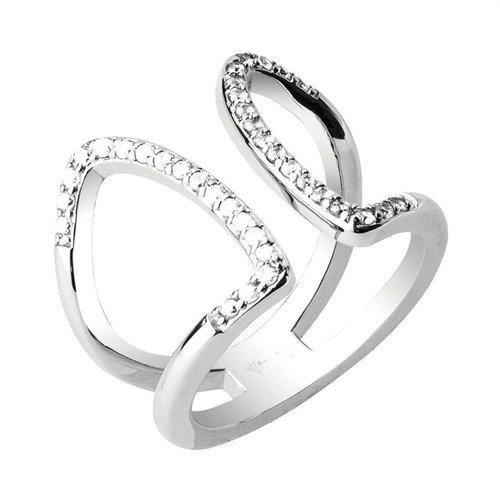 JOOP! Damen-Ring Messing rhodiniert Zirkonia transparent JPRG00011A1