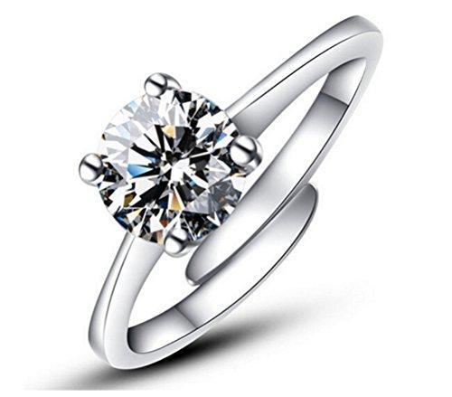 Lieberpaar Damen Mode 925 Sterling Silber Einfache Öffnen Verstellbare Ringe Als Valentinstag Geschenk