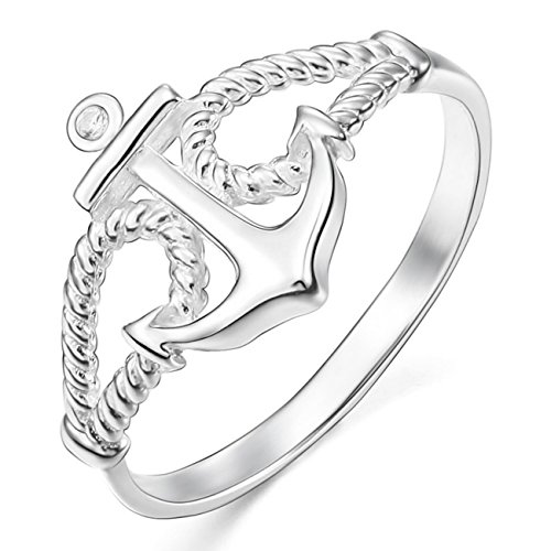 MunkiMix 925 Sterling Silber 13mm Ring CZ Zirkon Zirkonia Silber Ton Anker Segeln Nautisch Seil Damen