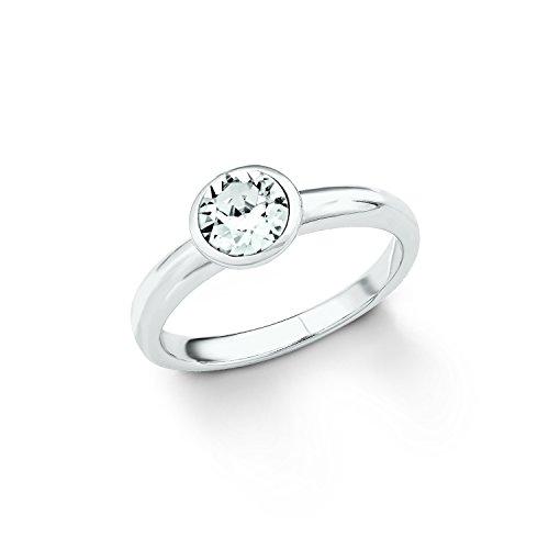 S.Oliver Damen Ring 925 Silber Kristall von Swarovski weiß