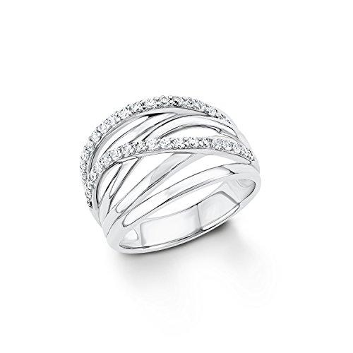 S.Oliver Damen Ring 925 Silber rhodiniert Zirkonia weiß