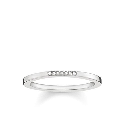 THOMAS SABO Damen Ring D_TR0005-725-14 925er Sterlingsilber Diamant Pavè Weiß Silberfarben, Weiß