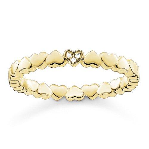 THOMAS SABO Damen Ring Herzen 925er Sterlingsilber; 750er Gelbgold Vergoldung D_TR0013-924-14