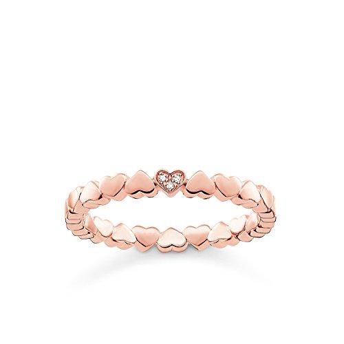 THOMAS SABO Damen Ring Herzen 925er Sterlingsilber; 750er Roségold Vergoldung D_TR0013-923-14