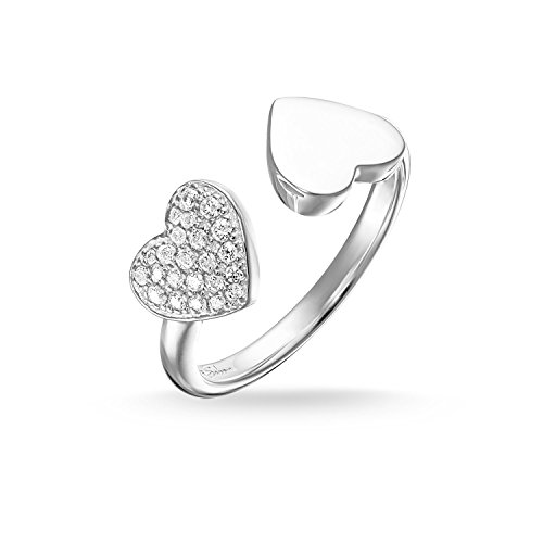 THOMAS SABO Damen Ring Herzen Pavé Ring 925er Sterlingsilber TR2082-051-14