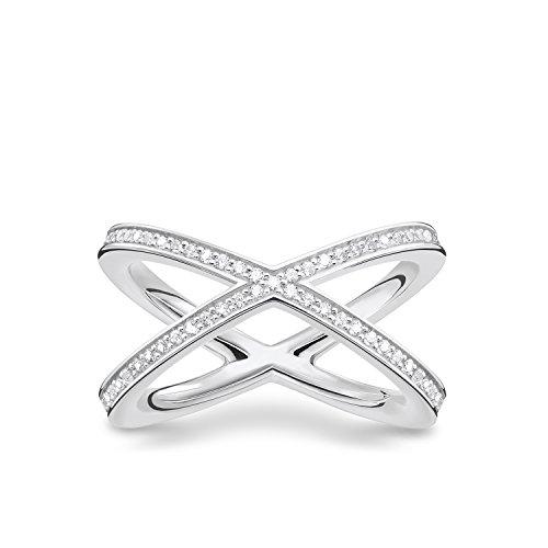 THOMAS SABO Damen Ring TR2138-051-14 925er Sterlingsilber Zirkonia Weiß Silberfarben, Weiß