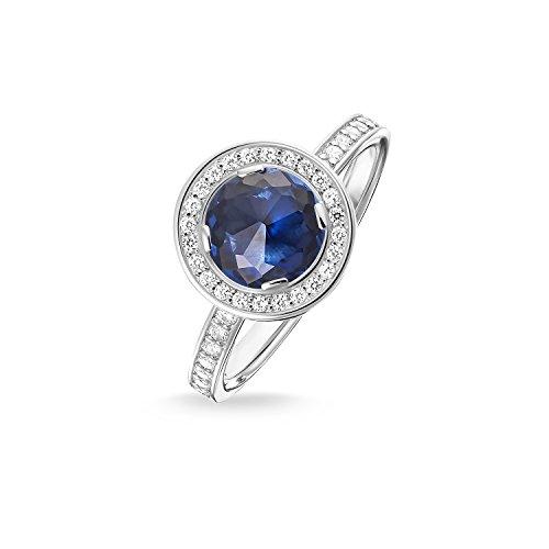 THOMAS SABO Damen Solitärring Light of Luna Hellblau Eternity Ring 925er Sterlingsilber TR1971-050-32