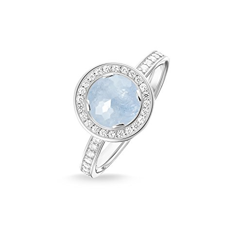 THOMAS SABO Damen Solitärring Light of Luna Hellblau Eternity Ring 925er Sterlingsilber TR1971-694-31