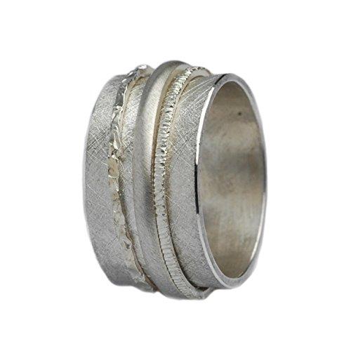 Tiljon Breiter matter Ring 925er Silber mit drehbaren Ringschienen