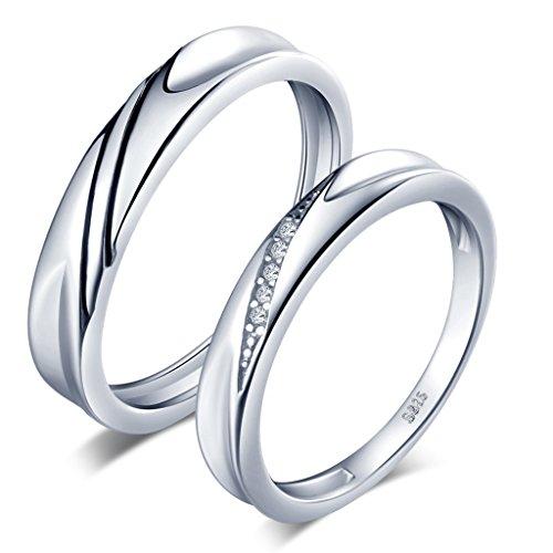 Unendlich U Simpel Welle 925 Sterling Silber Zirkonia Paar Band Ringe Eheringe Trauringe Verlobungsringe Partnerringe, Größe 50 bis 63