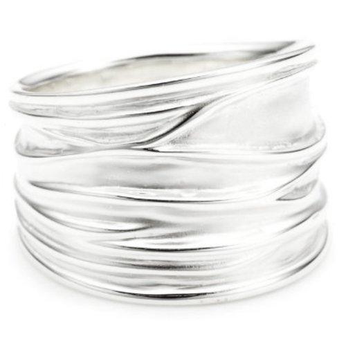 Vinani Ring breit Struktur sandgestrahlt glänzend Sterling Silber 925