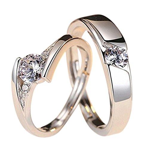 Westeng Silberring Verstellbare Größe Offener Ring Paar-Ring Schmuck und Accessoires Herzform Eingelegter Zirkon