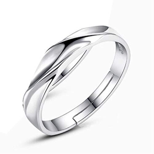 YunYoud Kreative Eröffnung Wasser Welle Twisted Ehering Männer und Frauen Diamant Ring Solitärring Sterling Silber rhodiniert Zirkonia weiß offener Damen ring