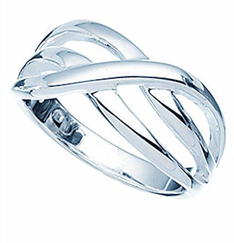 polierter gekreuzter Silberring, Sterling-Silber 925
