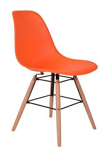 1 x Design Klassiker Stuhl Retro 50er Jahre Barstuhl Küchenstuhl Esszimmer Wohnzimmer Sitz in Orange mit Holz